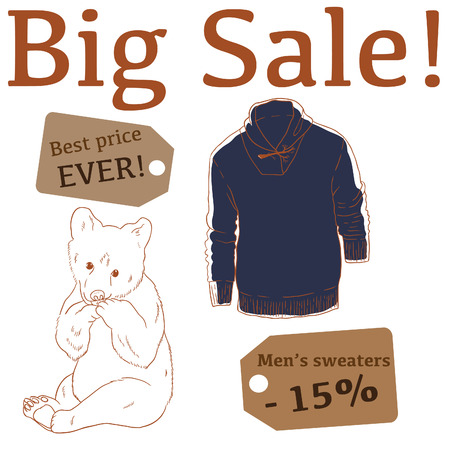 baby bear: Big Sale illustration with baby bear, mens sweater and labels Illustration