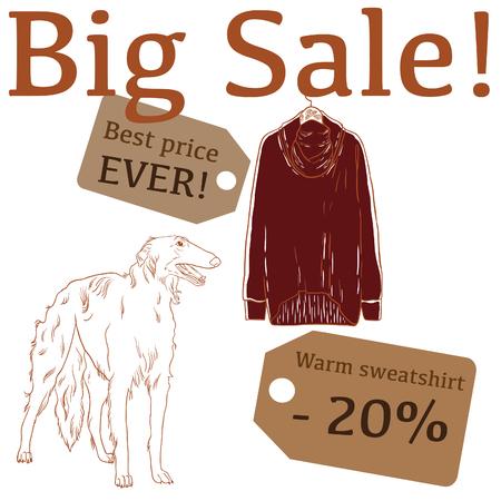 borzoi: Big Sale illustration with hunting dog, sweatshirt and labels