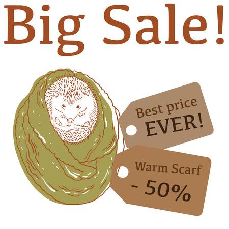 snood: Big Sale illustration with cute hedgehog, trendy scarf, and labels Illustration