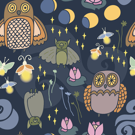moon phases: Night creatures seamless vector pattern with adorable owls, bats, fireflies and moths. Moon phases. Hand drawn texture for fabrics, paper and web.