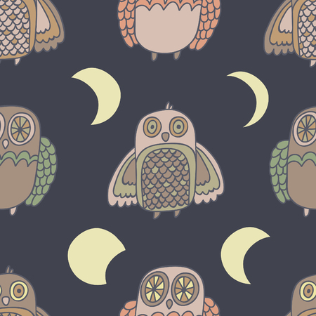 moon phases: Night creatures seamless vector pattern with adorable owls Moon phases. Hand drawn texture for fabrics, paper and web.