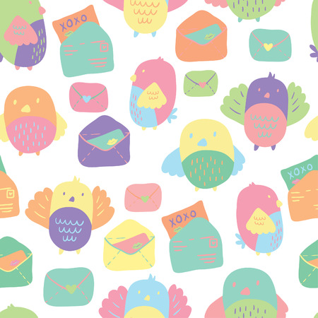 lovebirds: Love Letter seamless vector pattern with adorable lovebirds and letters. Hand drawn texture for fabrics, paper and web. St.Valentines Day. Illustration
