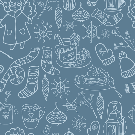 winter fun: Winter fun hand drawn vector seamless pattern. Decorative traditional elements. Symbols of Christmas. Illustration