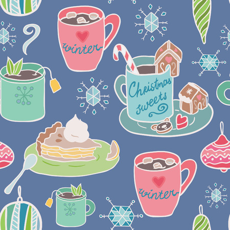 winter fun: Winter fun seamless vector pattern. Traditional decorative Christmas elements: sweets, hot beverages, apple pie. Illustration