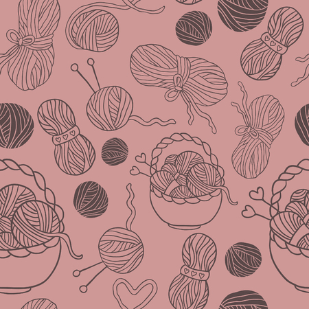 ravel: I love knitting! Fun seamless vector pattern for your design, scrapbook pages, blog, textile. Hand drawn yarn, ravel, teapot.