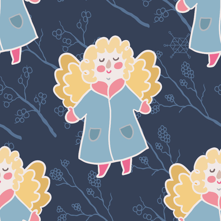 winter fun: Winter fun seamless vector pattern. Traditional decorative Christmas elements. Adorable angel.