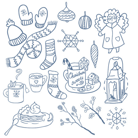 winter fun: Winter fun hand drawn vector set. Decorative traditional elements. Symbols of Christmas. Illustration