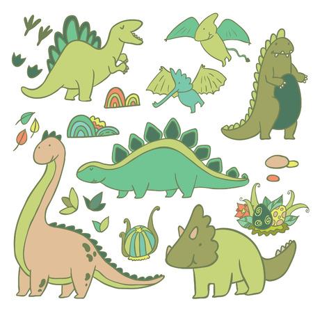 jungle boy: Adorable dinosaurs outline vector set