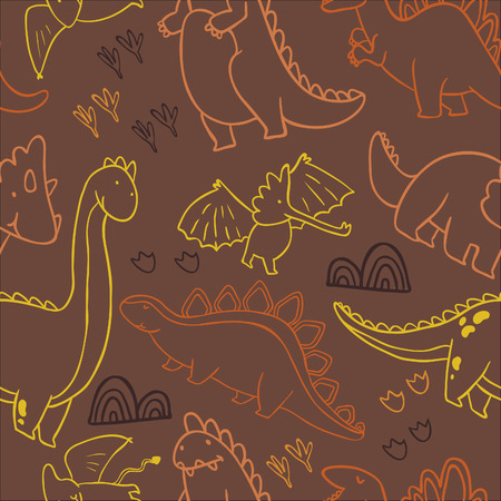 childish: Adorable dinosaurs. Seamless pattern for wallpapers, pattern fills, web page backgrounds, surface textures, scrapbook pages