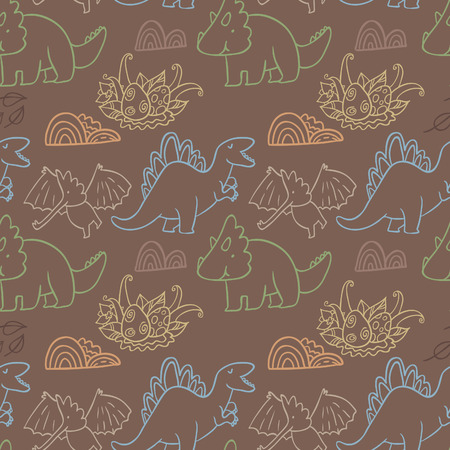Adorable dinosaurs. Seamless pattern for wallpapers, pattern fills, web page backgrounds, surface textures, scrapbook pages
