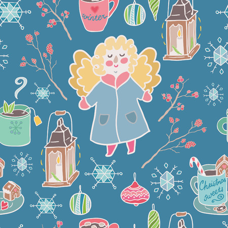 winter fun: Winter fun seamless vector pattern. Traditional decorative Christmas elements.