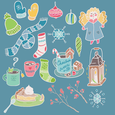 winter fun: Winter Fun vector set. Traditional decorative Christmas elements. Illustration