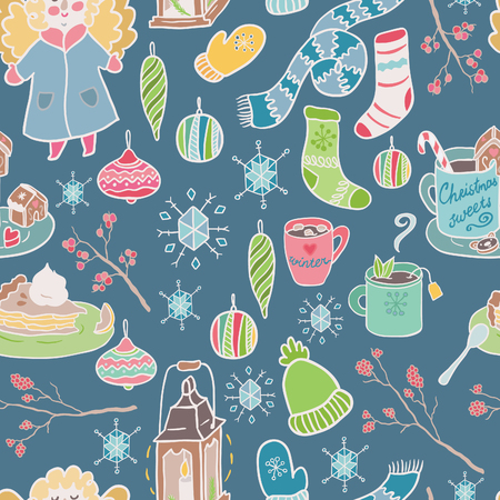 tarta de manzana: Winter fun seamless vector pattern. Traditional decorative Christmas elements.