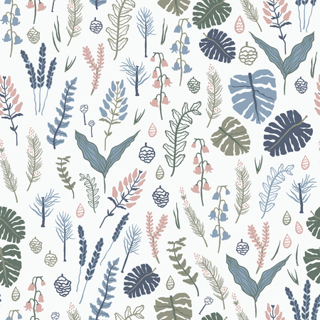 trees illustration: Trendy vector seamless pattern with forest plants, leaves ,, seeds and cones. Illustration