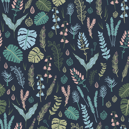 winter flower: Trendy vector seamless pattern with forest plants, leaves ,, seeds and cones. Illustration