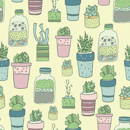 plant pot: Cute hand drawn terrariums, houseplants and succulents in pots. Seamless vector pattern. Illustration