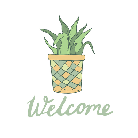 sentiment: Welcome vector card with cute hoseplant
