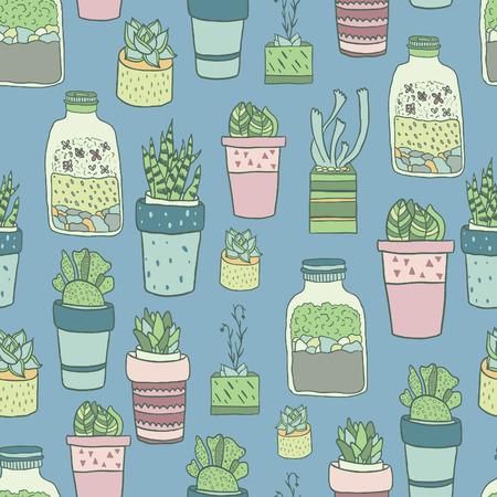 귀여운 손으로 그린 terrariums, houseplants 및 succulents 냄비. 원활한 벡터 패턴입니다.