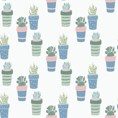 houseplants: Cute hand drawn terrariums, houseplants and succulents in pots. Seamless vector pattern. Illustration