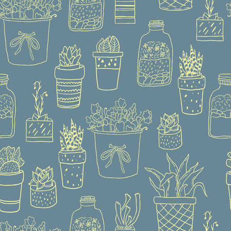 sketch sketches: Cute hand drawn terrariums, houseplants and succulents in pots. Seamless vector pattern. Illustration