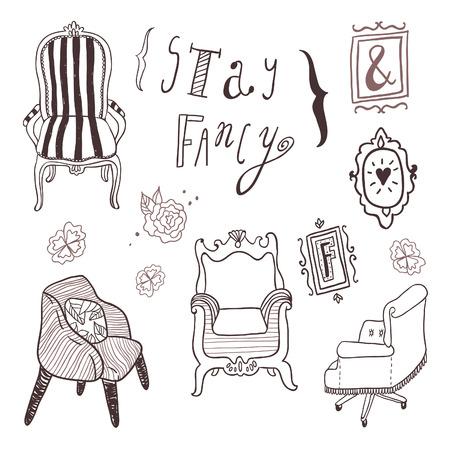 trono: Manténgase ilustraciones de lujo fijado. dibujado a mano muebles y las letras, entre otras decoraciones, marcos. Vectores