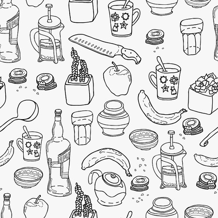 stuff: Kitchen stuff seamless pattern. Hand drawn vector theme. Good for backgrounds, fabric, kitchen and cafe stuff Illustration