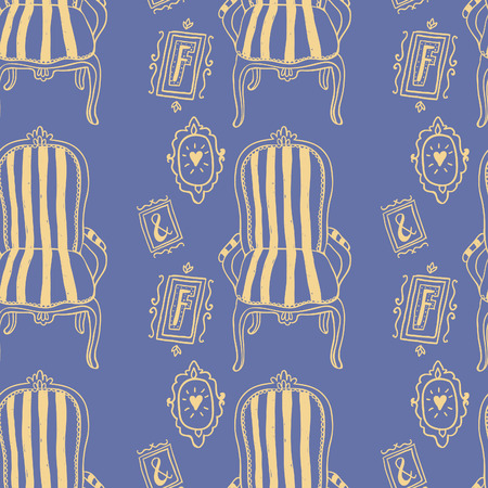 buff: Stay Fancy seamless vector pattern. Cute hand drawn furniture, interior decorations and frames. Illustration