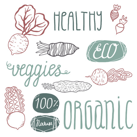 veggies: Eco hand drawn lettering and veggies: beetroots and raddish