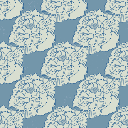 rampage: Spring Rampage seamless vector pattern. Romantic blooming peony for textile, stationary, scrapbook paper and web.