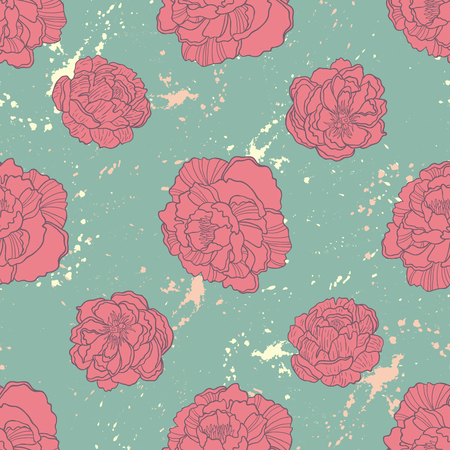 rampage: Spring Rampage seamless vector pattern. Rock version of blooming peony for textile, stationary, scrapbook paper and web.