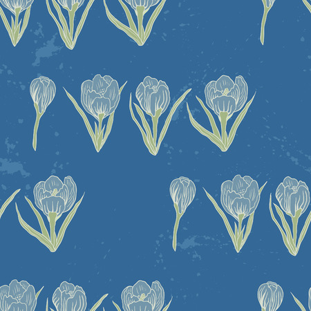 rampage: Spring Rampage seamless vector pattern. Romantic blooming crocus for textile, stationary, scrapbook paper and web in pastel colors. Illustration