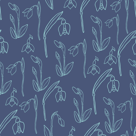 rampage: Spring Rampage seamless vector patter. Beautiful romantic snowdrop for textile, scrapbook paper, stationary or web. Illustration