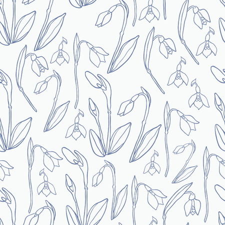 patter: Spring Rampage seamless vector patter. Beautiful romantic snowdrop for textile, scrapbook paper, stationary or web. Illustration