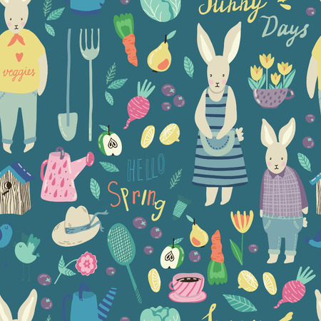 family gardening: Spring Garden seamless vector pattern. Adorable childish illustrations with gardening supplies, rabbits, fruits and veggies. Perfect for scrapbooking paper, textile, stationary and web.
