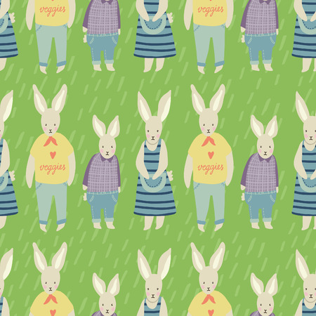 veggies: Spring Garden seamless vector pattern. Adorable childish illustrations with gardening supplies, rabbits, fruits and veggies. Perfect for scrapbooking paper, textile, stationary and web.