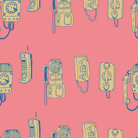 call me: Call Me, Baby seamless vector pattern. Adorable retro phones and all kind of phones for textile, web, scrapbook paper, stationary.