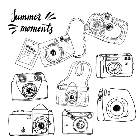 old and new: Cute hand drawn old and new cameras. Seamless vector pattern. Best summer memories.