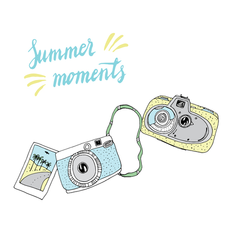 memories: Cute hand drawn old and new cameras. Vector card. Best summer memories.