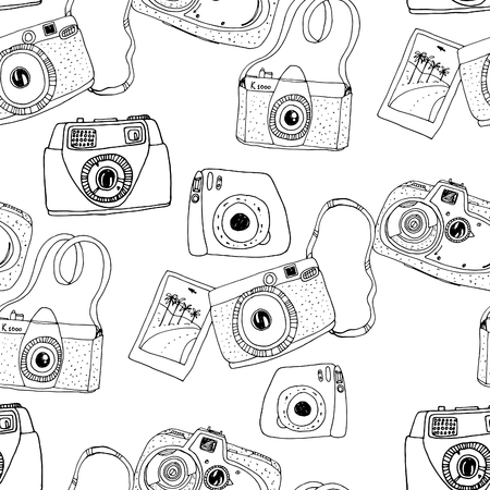 memories: Cute hand drawn old and new cameras. Seamless vector pattern. Best summer memories.