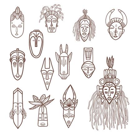 tiki head: Hand drawn african masks. Vector set.