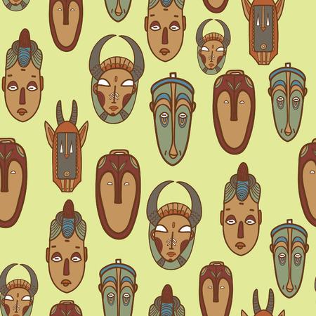 tiki head: Hand drawn african masks. Seamless vector pattern.