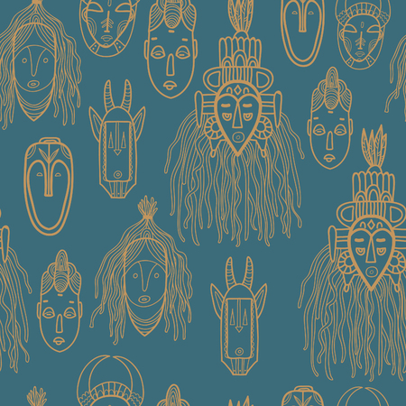 tiki head: Hand drawn african masks. Seamless vector pattern.