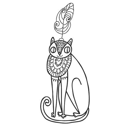 maharaja: Maharaja Garden wild cat for coloring. Adult coloring page.