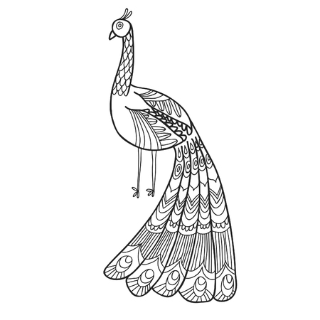 Maharaja Garden peacock for coloring. Adult coloring page.