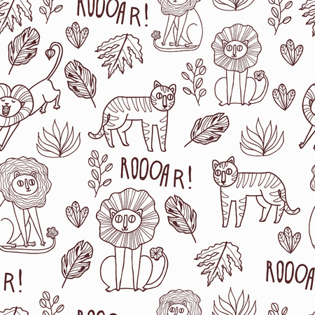 wild web: Maharaja Garden seamless vector pattern. Fun wild jungle animals in cartoony style for your textile, scrapbook paper, web and stationary design.