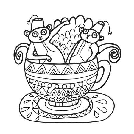 maharaja: Maharaja Garden capuchin monkeys in tea cup for coloring. Adult coloring page.