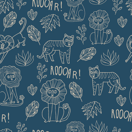 cartoony: Maharaja Garden seamless vector pattern. Fun wild jungle animals in cartoony style for your textile, scrapbook paper, web and stationary design.