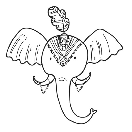 maharaja: Maharaja Garden elephant for coloring. Adult coloring page.