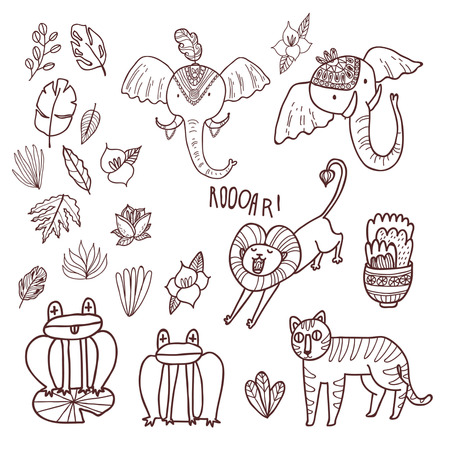 maharaja: Maharaja Garden vector set. Fun wild jungle animals in cartoony style for your textile, scrapbook paper, web and stationary design, adult coloring book. Illustration