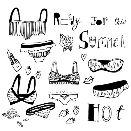chic panties: Adorable hand drawn swimsuits. Vector set. Perfect for summer vacation design.